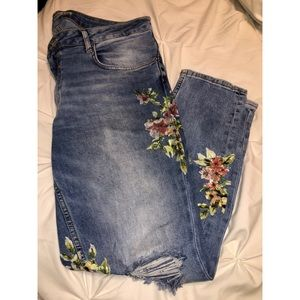 Zara Basic denim jeans, Flowers